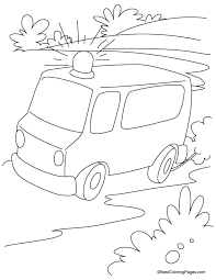 Small Picture Emergency ambulance van running on the road coloring page