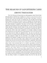 essay gangsterism among teenagers