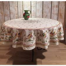 round tablecloth cotton moustiers rose 70 inches