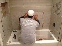 bathroom installing wall tile around bathtub ideas within