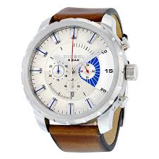 diesel stronghold chronograph white dial brown leather men s watch diesel stronghold chronograph white dial brown leather men s watch dz4357