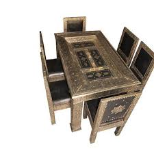 dining table furniture bazaar. metal and leather arabesque carved door dining table 6 chairs furniture bazaar z