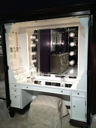 furniture black makeup table with lighted mirror and small fabric bench show perfect beauty in maximum makeup desks