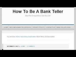Job Description For A Bank Teller Youtube