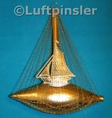 Schiff Mit Segel Mit Leonischen Draht Umsponnen Gold