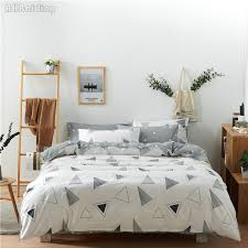 hot plain gray geometric patterns bedding set 100 cotton bed linen simple style bed