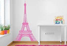 saveenlarge pink eiffel tower wall