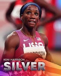 Keni Harrison wins the silver medal in ...
