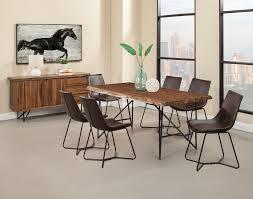 Alpine Live Edge Light Walnut Dark Brown 8 Piece Dining Room Set