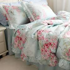 vintage inspired blue and pink rose bedding with lace detailing
