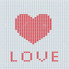 Knitted Heart Pattern Simple Knitting Is Love Knitted Heart Symbol Modern Vector Knitting