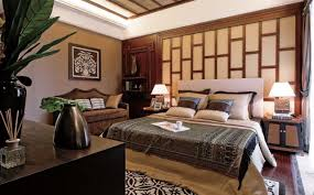 chinese bedroom with feng shui furniture feat wood bed frame also wall decoration