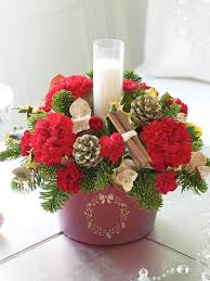 Lovely Christmas Table Arrangements With Beautiful Red Roses And Red Flowers  Also Cool White Candle At White Clothing Tables For Decoration Christmas  Sweet ...