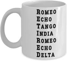 The nato phonetic alphabet, more accurately known as the international radiotelephony spelling alphabet and also called the icao phonetic or icao spelling alphabet, as well as the itu phonetic alphabet, is the most widely used spelling alphabet. Amazon Com Funny Retired Coffee Mug Us Army Usa Navy Marine Usaf Air Force Coast Guard Retirement Gift Military Alphabet Phonetic Police Armed Forces Tea Cup Kitchen Dining