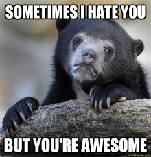 sometimes i hate you but you're awesome - Confession Bear - quickmeme via Relatably.com