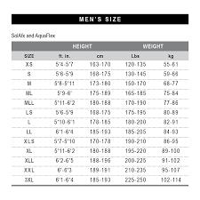 Wetsuit Size Chart Mens Bauer Compressors Inc