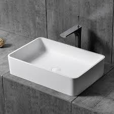 matte glossy white rectangular stone resin modern bathroom countertop basin with waste