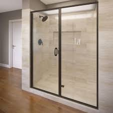 semi frameless hinged shower door in oil rubbed bronze with clear glass