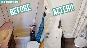 While porcelain is a highly durable surface, it's susceptible to chips, cracking, and a dulling of the rub the lemon oil into the sides of the porcelain bathtub or sink, avoiding the bottom of the tub to. Rv Bathroom Makeover On A Budget Youtube