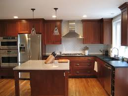 Attractive Kitchen Decoration With Staining Oak Wood Cabinet   L Shape Using Oak Wood Cabinets O70