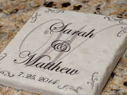 Wedding Coasters Personalized Wedding Anniversary Stone Coasters With Holder