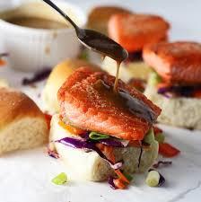 <b>Salmon Sliders</b> with (Epic!) Peanut Sauce and Asian Sesame Slaw
