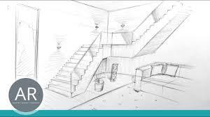 Zeichnen sie die kleinen wände, die das tor von den seiten schützen. Treppen Zeichnen Raume Zeichnen Perspektivisch Zeichnen Lernen Mappenkurs Innenarchitektur Youtube