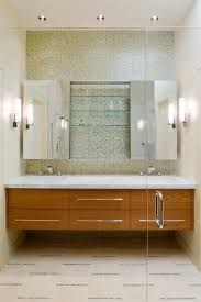 Looking frameless mirror in Bathroom Contemporary with Floating