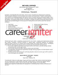 personal training resume samples personal trainer resume sample career igniter