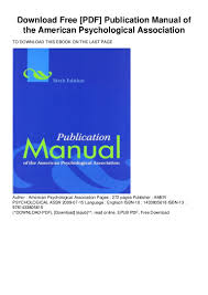 Download Free Pdf Publication Manual Of The American Psychological