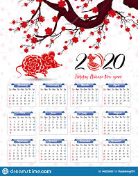 Chinese Calendar January 2020 Vector 2020 Calendar For New Year Of Mouse Stock Vector