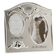2 tone silver plated 25th silver wedding anniversary gift photo frame present