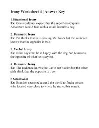 Irony Worksheet 4   Answers