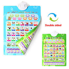 Arabic To English Alphabet Chart Us 11 27 51 Off Double Sided Wall Hanging Chart Arabic French Spanish English Teaching Learning Reading Machine Kids Learning Alphabet Word Toy In