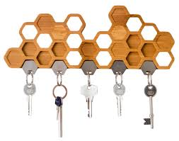 Honeycomb Magnetic Key Holder - A Unique Bamboo Wall Mounted And Decorative  Wooden Storage Rack by