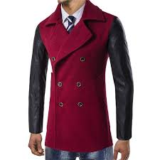 mens double ted woolen coat pieced leather sleeve pea coats cod