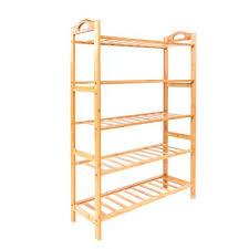 15 pair wood color 5 layer portable bamboo splint shoe rack