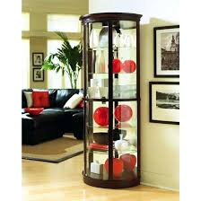 glass corner curio dark wood lighted corner curio cabinet with glass door and glass walls corner glass corner curio