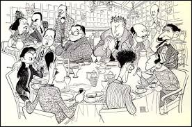 cartoon of the algonquin round table by al hirschfeld clockwise from the bottom left