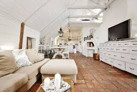 Interior:Attic Living Room Design With Wooden Slooping Roof And Brick Tiles Idea  Attic Living