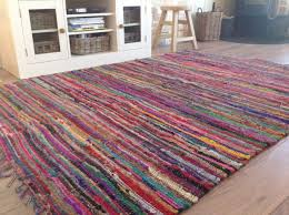 shabby chic fringed recycled fabric multi coloured rag rug second in pretty rag rug your house