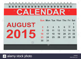 august 2016 desk calendar isolated on white background