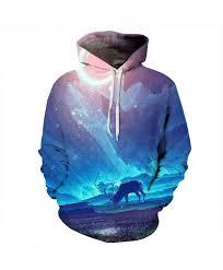 galaxy deer hoos men women 3d sweatshirts autumn winter hooded jackets plus size quality outwear male