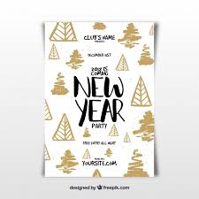 New Year Flyer Template With Hand Drawn Elements Vector | Free Download