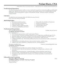Resume Objective For Nursing Assistant Sample Of Cna Resume