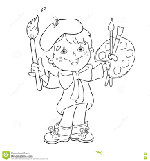 Small Picture Coloring Page Outline Of Cartoon Boy Artist With Paints Stock