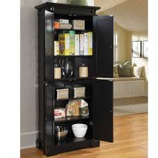 handsome freestanding black paint wooden pantry cabinet with four door swing out and available six level awesome black painted mahogany