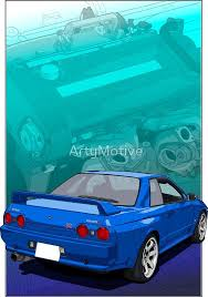 They couldn't source a set of original impul hoshino racing wheels so they got panasport to make them up a set to the same specs. Blue Skyline R32 Gtr With Rb26 Background Sticker By Artymotive In 2021 R32 Gtr Gtr Nissan Skyline Gtr R32