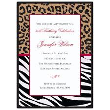 Cheetah And Zebra Birthday Party Invitations