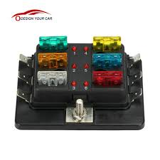 popular 12v fuse box buy cheap 12v fuse box lots from 12v kkmoon 6 way 12v 24v blade fuse box holder led warning light kit for car